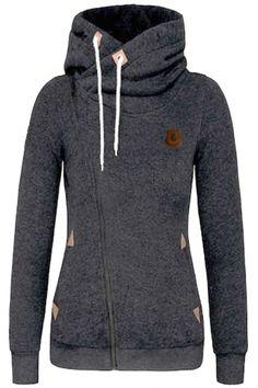 Fashion Turtleneck Oblique Zip Drawstring Hooded Sweatshirt - OASAP.com