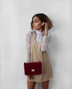 Propper Lace - Effortlessly Cool Ways To Style A Slip Dress - Photos Source by outfits Mode Outfits, Fashion Outfits, Womens Fashion, Fashion Trends, Fashion Shorts, Casual Dress Outfits, Spring Summer Fashion, Autumn Winter Fashion, Autumn Nature