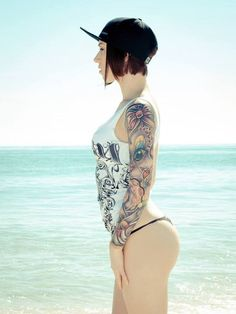 Inked, beach, sexy