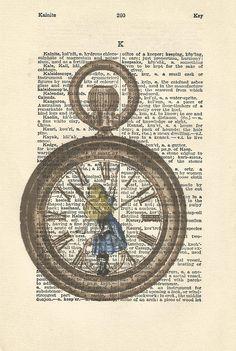 Alice in wonderland vintage print it's always tea time
