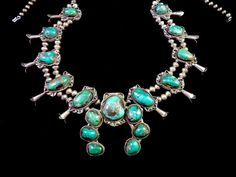 265g Vintage Old Pawn Navajo Sterling Silver Squash Blossom Necklace w…