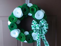 St. Patrick's Day and Christmas Felt Flower by WreathinkGifting, $38.00
