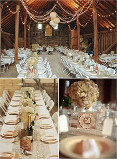 Barn Wedding Reception ♦ Tablescape ♦ Table number idea www.MadamPaloozaEmporium.com www.facebook.com/MadamPalooza