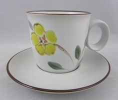 Noritake Stoneware Cup and Saucer Set Yellow Green Hello Spring Pattern Floral