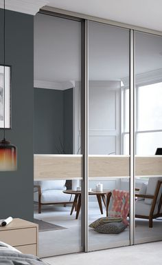 Signature 3 panel Fineline Grey Mirror glass / Cape Elm with a Nickle frame & Premium Midi 3 panel fineline sliding wardrobe doors in Grey Mirror ...