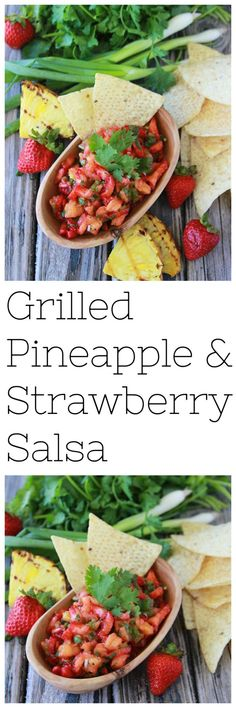 Grilled Pineapple and Strawberry Salsa Easy Salad Recipes, Healthy Eating Recipes, Side Dish Recipes, Appetizer Recipes, Snack Recipes, Delicious Appetizers, Yummy Food, Grill Recipes, Sweets Recipes