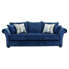 "Sofa with royal blue upholstery.  Product: SofaConstruction Material: Hardwood, polyurethane foam and polyester fiberColor: Royal blueFeatures:   Made in the USASprings are machine tested for durability and lasting supportGauge no-sag wide loop sinuous springs ""s"" shaped and run from the front of the seat to the backBacks and pillows are air-blown to contour the body for maximum support and comfortIncludes designer matched toss pillows Dimensions: 37 H x 95 W x 38 D"