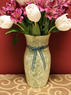 Handmade Mint Green with Petals Paper Design Glass Vase by KjgBoutique on Etsy