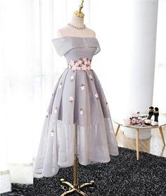 Gray Organza high-low prom dress, gray bridesmaid dress, cute women fashion dress for teens