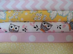Rag Quilt Kit, Owl and Butterfly, Pink and Yellow, Girly, Easy to Make, Personalized by beffie48 on Etsy