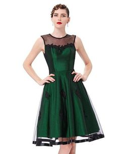 Belle Poque Women Summer Sleeveless Dress Vintage Knee-length Cute O-neck  with Tulle Netting Lady Party Dresses 15cb4e7aa
