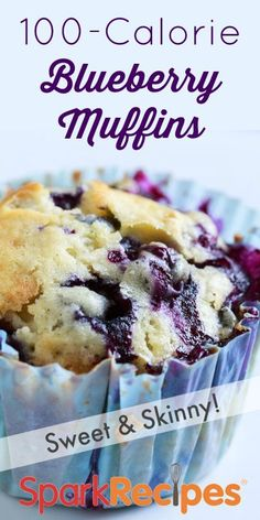 100 Calorie Blueberry Muffins Recipe. Frozen or fresh--you can't go wrong with blueberries in these yummy, low-cal muffins. | via @SparkRecipes