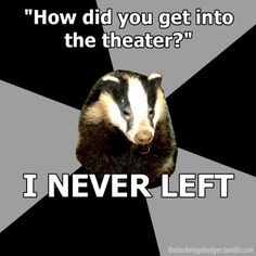 This explains tech week perfectly. You feel like this all the time, but then when it's over you miss it. You hate it but love it at the same time if that makes sense xD