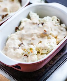 I Can't Believe It's Not Carbs: Creamy Scalloped Cauliflower