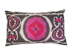Fun Suzani lumbar pillow - you can never go wrong with grey and pink