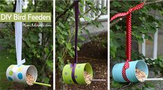 DIY Birdfeeders using recycled soup cans!