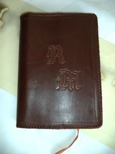 Fine Tooled Book Cover Brown Leather RM monogram by MushkaVintage3