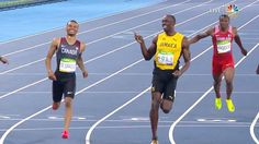 Usain Bolt cracks a smile joking with his rival and friend Canadian runner De…