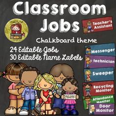 TeachToTell  from  BACK TO SCHOOL - EDITABLE CLASSROOM JOBS AND NAME LABELS{CHALKBOARD THEME} on TeachersNotebook.com -  (15 pages) - An organized classroom is job half done. These 24 editable 'Classroom Jobs' featuring a unique chalkboard theme will be a strong visual reminder for your students.