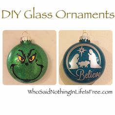 DIY Glass Ornaments Using a Silhouette Machine - Who Said Nothing in Life is Free? #GlitterOrnaments