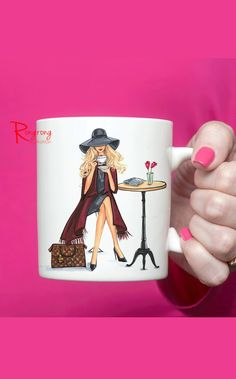 Fashionable Coffee Mug,Chic Coffee cup by RongrongIllustration on Etsy, more designs please visit https://www.etsy.com/shop/RongrongIllustration?section_id=15876515&ref=shopsection_leftnav_5