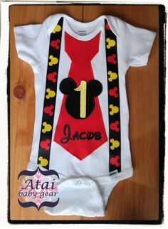 Mickey Mouse Onesie with Birthday Tie, Faux Suspenders and Personalized Name Boy's Borthday Onesie, First Birthday Outfit by AtaiBabyGear on Etsy https://www.etsy.com/listing/202630693/mickey-mouse-onesie-with-birthday-tie