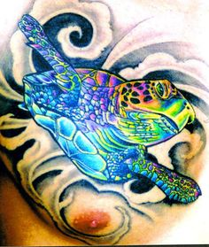 I want a colorful sea turtle tattoo like this one.(: ...........click here to find out more http://googydog.com