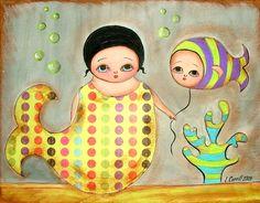 MERMAID 8x10 Print from Original Painting Beautiful Polka Dot Girl Stripy Baby Fish Coral Ocean Sea Nature Wall Picture