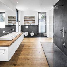 Przykład na prysznic - minimalizm w formie, baterie podtynkowe.