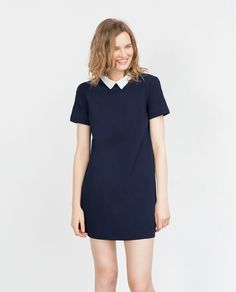Image 1 of DRESS WITH CONTRASTING COLLAR from Zara