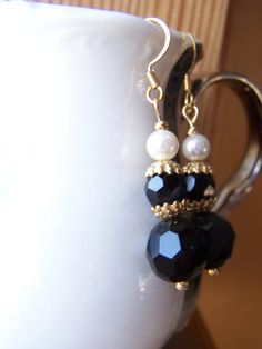 Upcycled Vintage Black White Dangle by autumnraincreations on Etsy, $20.00