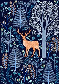 EXPECTO PATRONUM!!! Made this for a series of deer themed notebooks we're doing for Papio, woo! Art And Illustration, Woodland Illustration, Pattern Illustration, Posca Art, Arte Popular, Surface Pattern Design, Art Inspo, Print Patterns, Animal Patterns