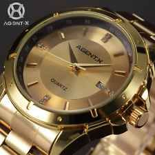 Gold Case Agentx Mens Luxury Date Sport Quartz Stainless Steel Watch+Gift Box