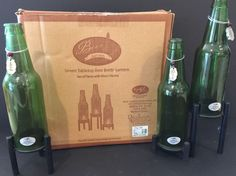 Set Of 3 Green Beer Bottle Tabletop Lanterns In Original Package Silver Charms