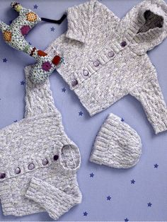 Cotton Candy Jackets & Hat free knitting pattern for babies. Pattern