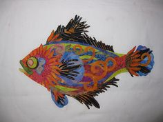 Susan Carlson Cutting Loose Collage Fish by messygoat, via Flickr I am inspired to make a dragon this way