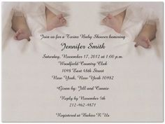 """Twin Toes Baby Shower Invitations - Set of 20 by Storkie Express. $35.80. Baby Shower Invitations: """"Twin Toes"""" features two adorable sets of feet nestled in silver satin sheets. Great for a wide range of twin invitations and announcements."""