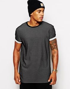 ASOS T-Shirt With Mesh Effect Skater Fit And Roll Sleeves