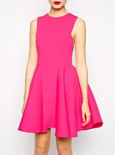 Hot Pink Fit and Flare Dress - Sleeveless / Princess Seams / Narrow Hem