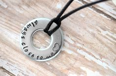 Always Close To My Heart Metal Stamped Necklace by DanaElyse on Etsy