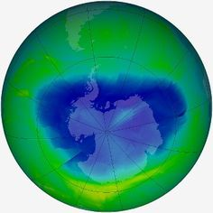 The intensity of blue shows the severity of ozone depletion above Antarctica in September 2010. Atom for atom, bromine atoms are 40-100 times more destructive in the ozone layer than chlorine atoms. Reactions involving bromine are responsible for up to half of the loss of ozone above Antarctica. The largest source of ozone-depleting bromine is methyl bromide. Methyl bromide's main use is as a fumigant. About 30% of the bromine in the atmosphere comes from human activities, the rest is…
