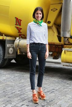 Leandra Medine looking super cool in clog-inspired pumps.