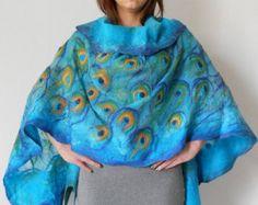 Nuno fieltro seda bufanda mantón envolver arte hecho a mano de
