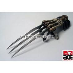 This is the Zombie Gear Demon Bones Tri-Bladed Hand Claw. The Blades of the claw has been constructed from 440 C Stainless Steel. The blades feature a unique design.