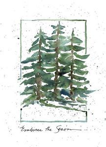 Green Watercolor Christmas Tree Canvas Print / Canvas Art by ...