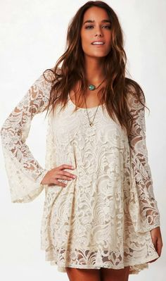 Full Sleeves White Lace Cover Up