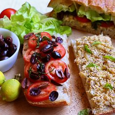 Vegan recipe from TryVeg: Vegan French Tuna Salad Sandwich - Pan Bagnat by MissKitchenWitch.com