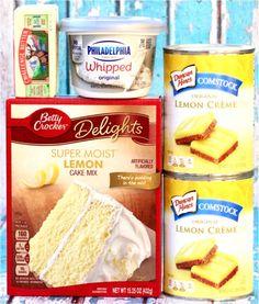 Lemon Cheesecake Dump Cake With Lemon Cake Mix, Lemon Pie Filling, Philadelphia Whipped Cream Cheese, Butter pies pies recipes dekorieren rezepte Lemon Dump Cake Recipe, Lemon Cake Mixes, Dump Cake Recipes, Dessert Recipes, Dump Cakes, Lemon Cakes, Frosting Recipes, Lemon Pudding Cake, Coconut Cakes