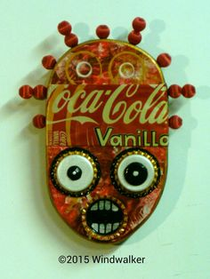 "Outsider Folk Art, ""Vanilla Coke"", Tribal Wood Wall Hanging, Comical Soda Can Art, Bottle Cap and Bead Wall Sculpture by Windwalker Art"