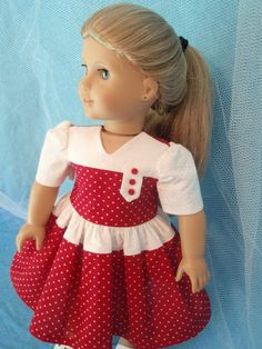 American Girl Doll 18 Inch Doll Clothes Retro Style Dress by izzadorabelle on Etsy